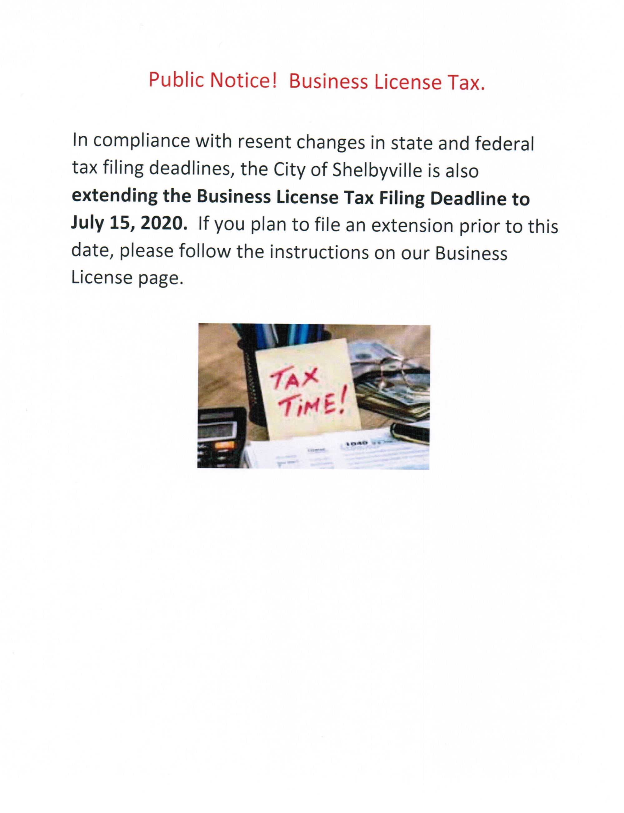 Business License Filing Extension